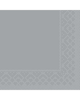 Servet Tissue 3 laags 24x24cm 1/4 vouw Uni Grijs