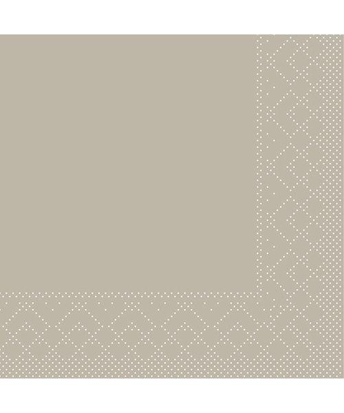 Servet Tissue 3 laags 20x20cm 1/4 vouw Uni Beige/Grijs bestellen