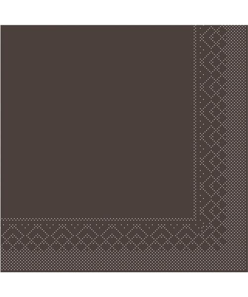 Servet Tissue 3 laags 20x20cm 1/4 vouw Uni Bruin bestellen