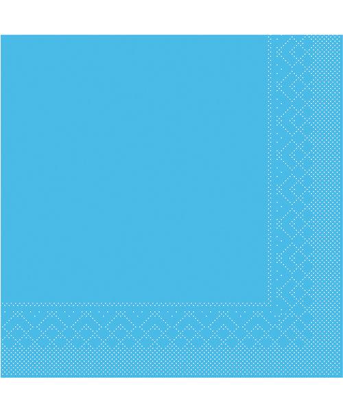 Servet Tissue 3 laags 20x20cm 1/4 vouw Uni Aquablauw bestellen