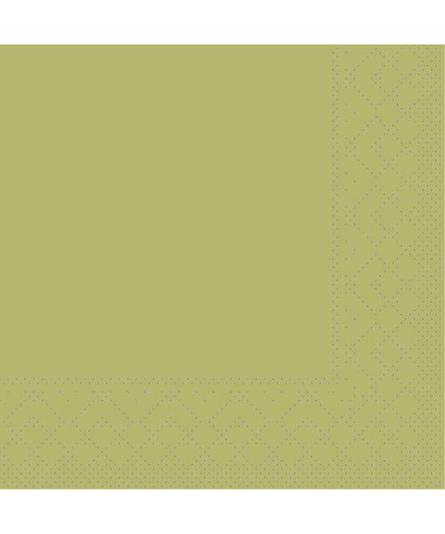 Servet Tissue 3 laags 20x20cm 1/4 vouw Uni Olijf bestellen