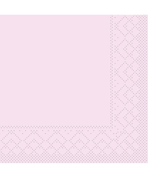 Servet Tissue 3 laags 20x20cm 1/4 vouw Uni Roze bestellen