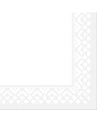 Servet Tissue 3 laags 20x20cm 1/4 vouw Uni Wit