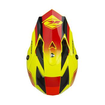 Track Kid Helmet Visor Red Neon Yellow