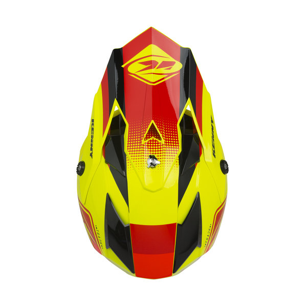 Track Kid Helmet Visor Red Neon Yellow