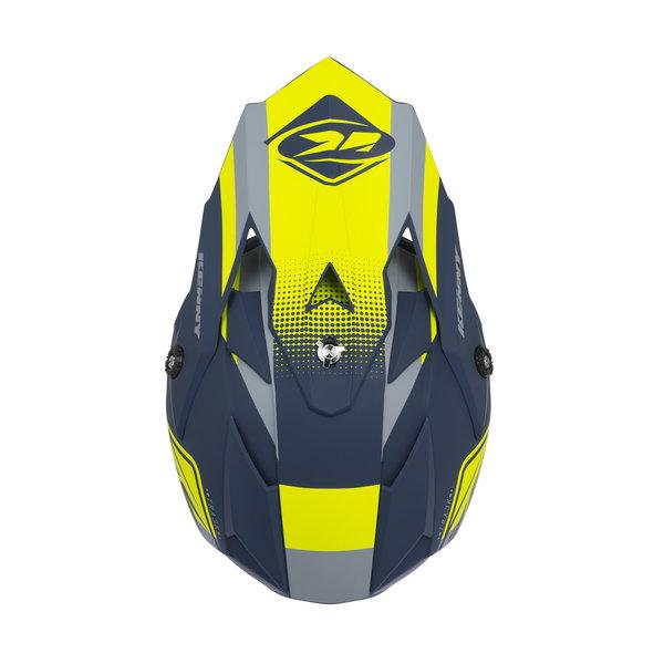 Track kid helmet visor navy neon yellow matt