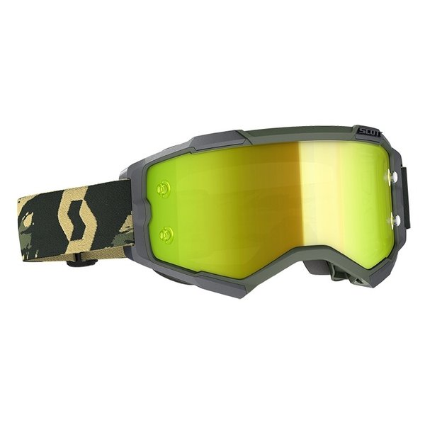 Goggle Fury Camo Kaki Yellow Chrome Works