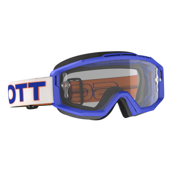 Goggle Split OTG White/Blue Clear Works (Speciaal Voor Brildragers)