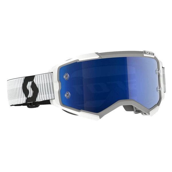 Goggle Fury White Blue Chrome Works