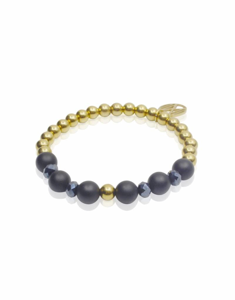 Midnight Blue goud/facet/agaat - 6 mm