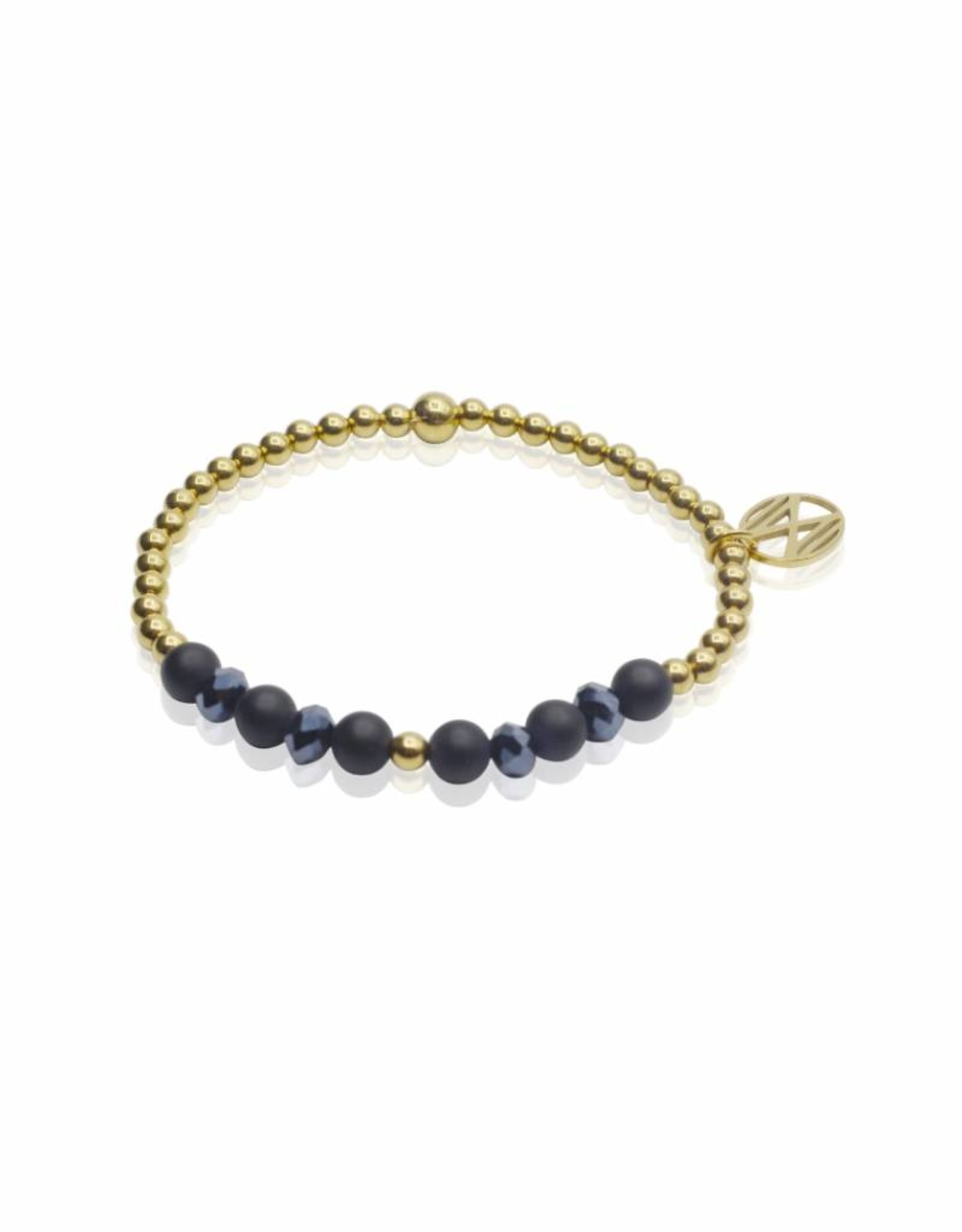 Midnight Blue goud/facet/agaat -  4 mm