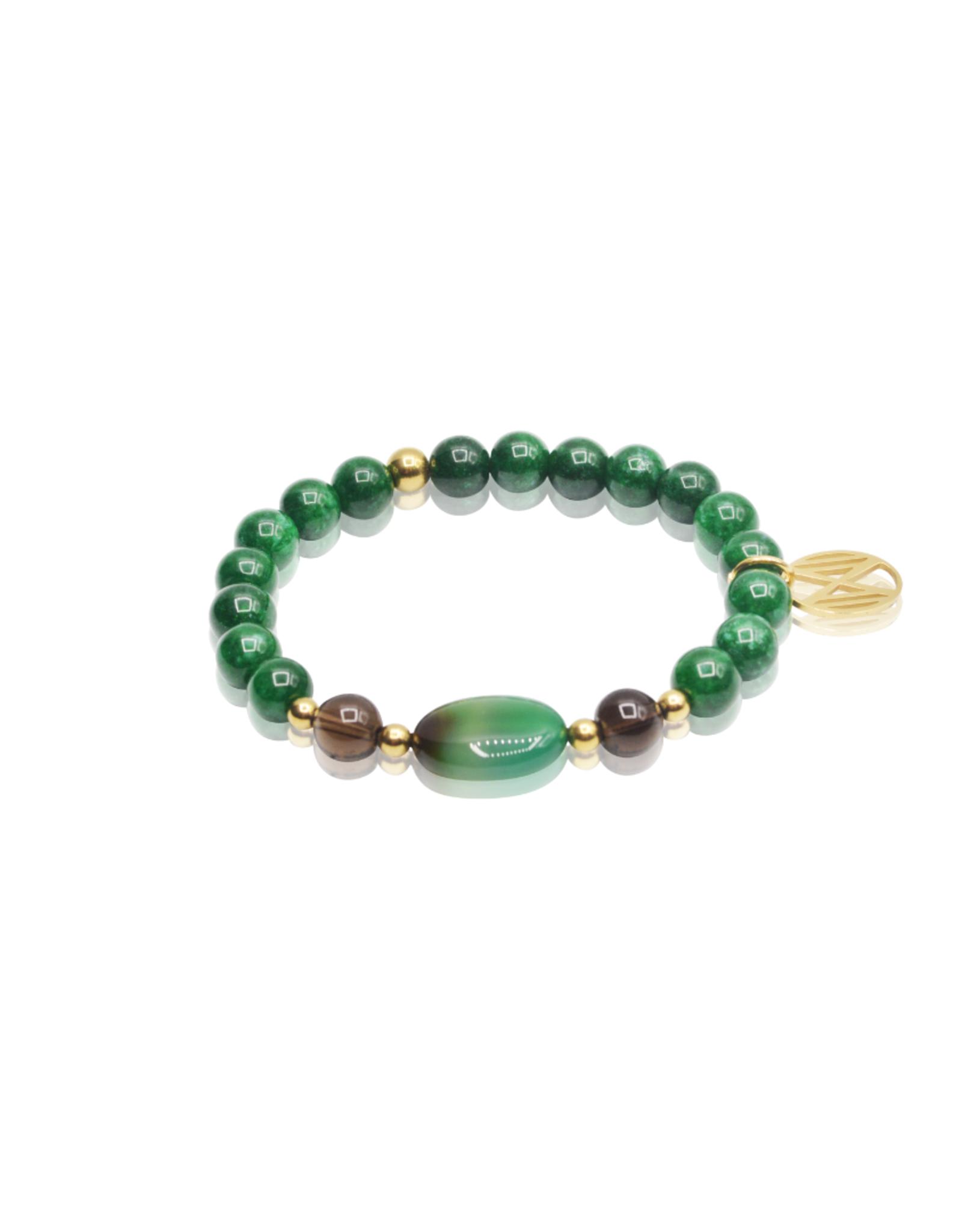 Dos por Dos Emerald , Groene agaat en rookkwarts