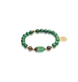 Dos por Dos Emerald, Groene agaat en rookkwarts