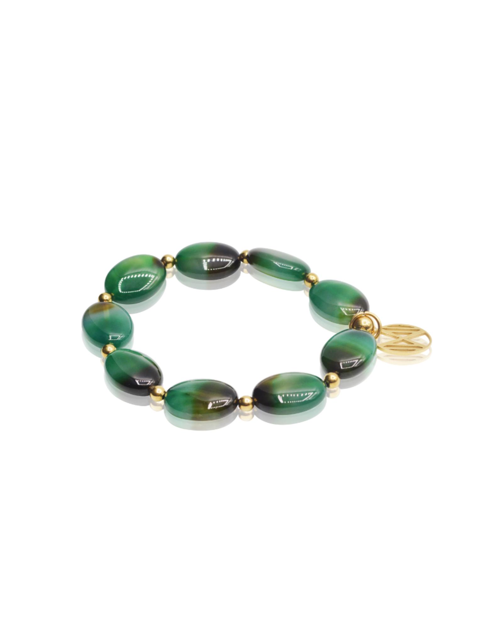 Emerald, Ovale, groenbruine agaat