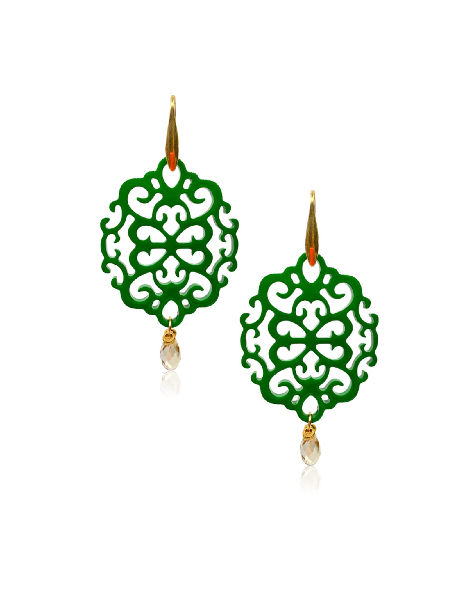 Laila oorbellen van buffelhoorn en kristal - groen