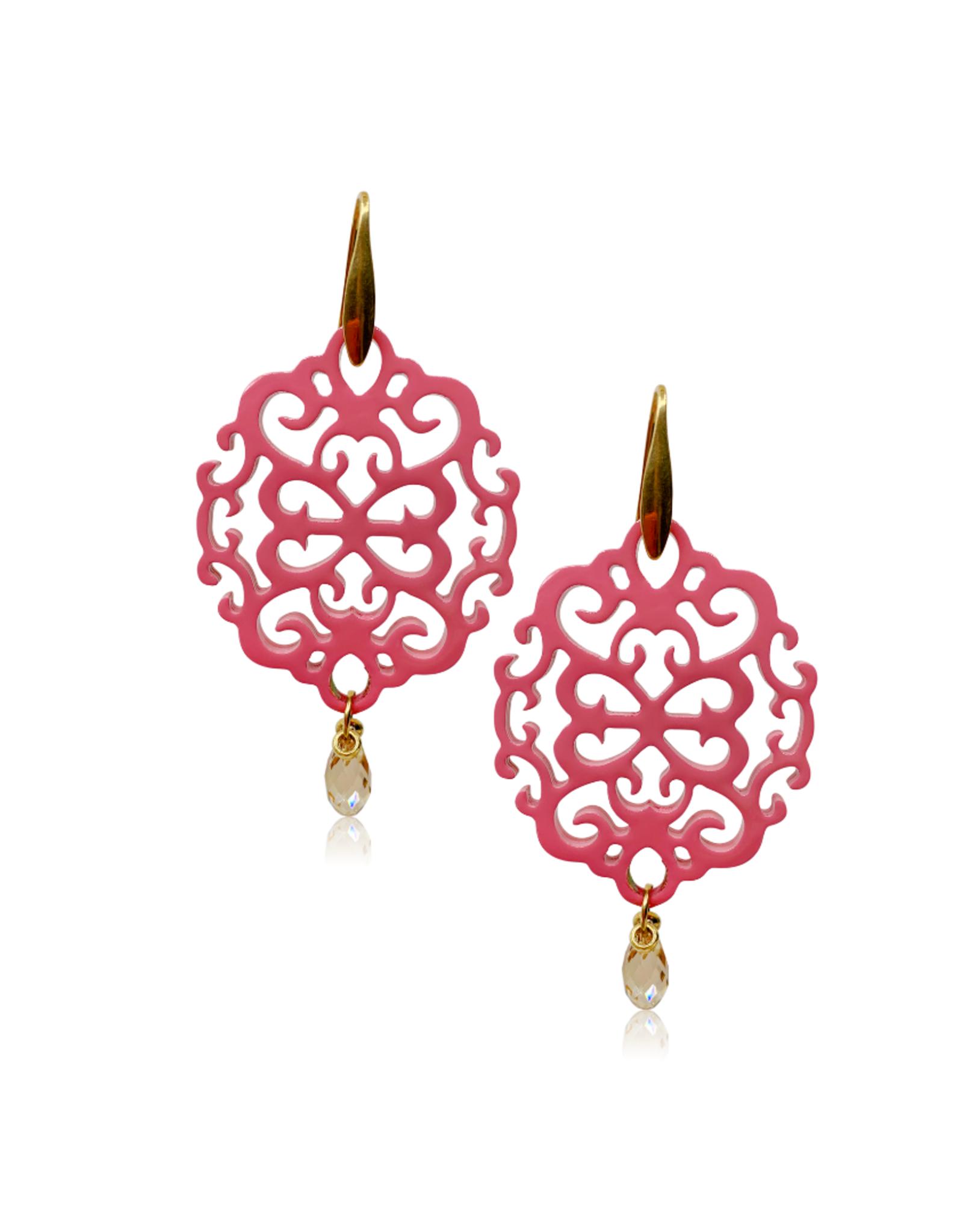 Laila oorbellen van buffelhoorn en kristal - pink