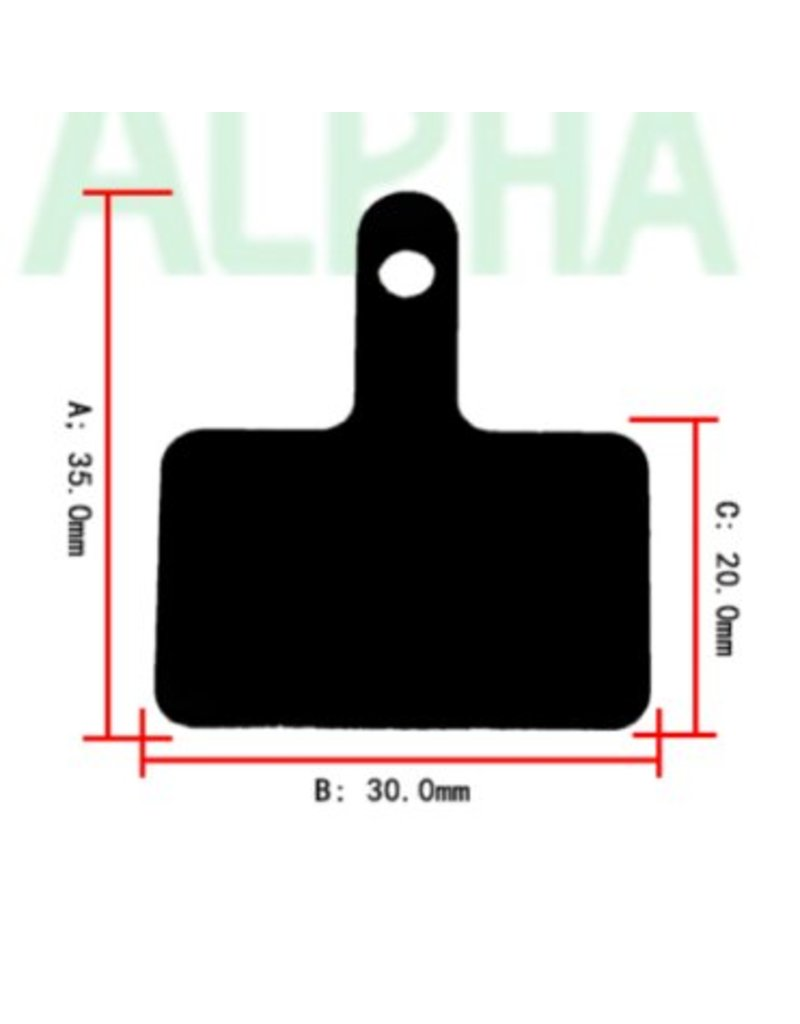 Alpha Cycling MTB brake pads voor Shimano remmen, resin