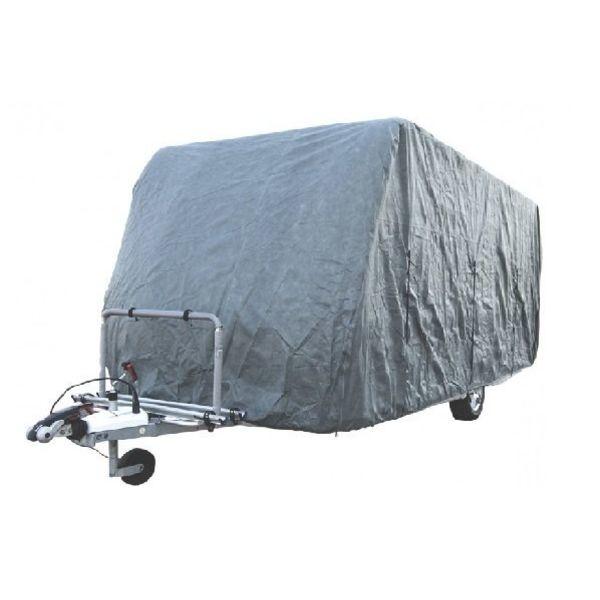 Dank dem leichten Stoff lässt sich die Wohnwagenplane einfach befestigen, aber auch im mitgelieferten Beutel aufbewahren. Die Caravanabdeckung ist wasserdicht.