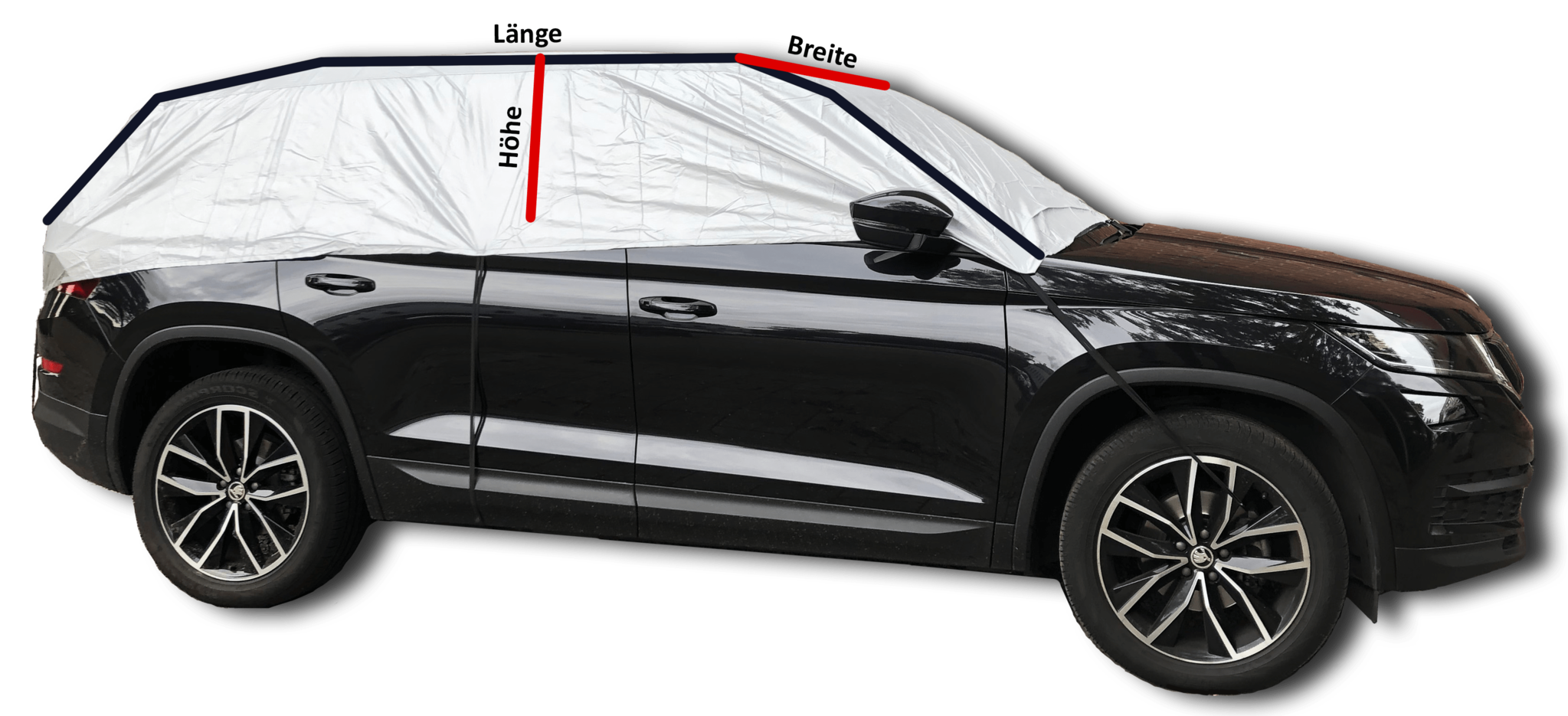 SUV abdeckung halbgarage besteht aus 100% Polyester und enthält eine wasserabweisende Schutzschicht