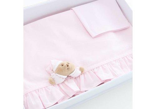 Nanan lakenset wieg / kinderwagen 3pcs puccio - roze
