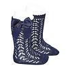 Cóndor sokje opengewerkt met strik - donkerblauw