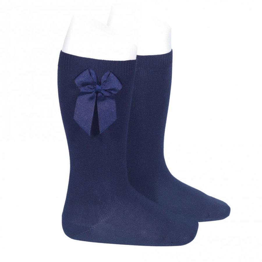 sokje met strik - donkerblauw-1