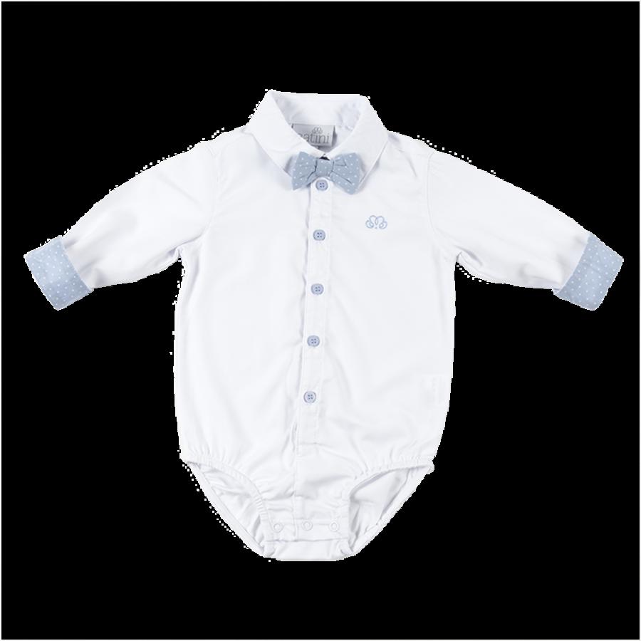 romper overhemd - wit/blauw-1