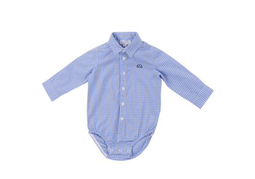 Natini romper overhemd - blauw geblokt