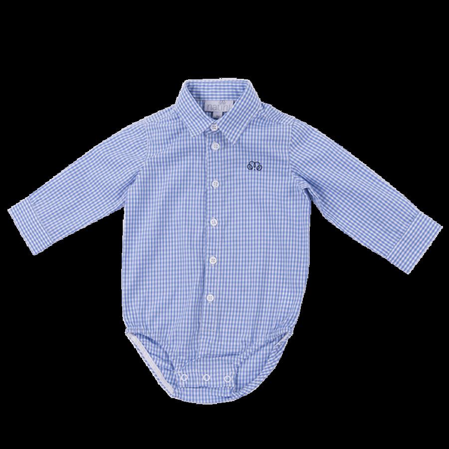 romper overhemd - blauw geblokt-1