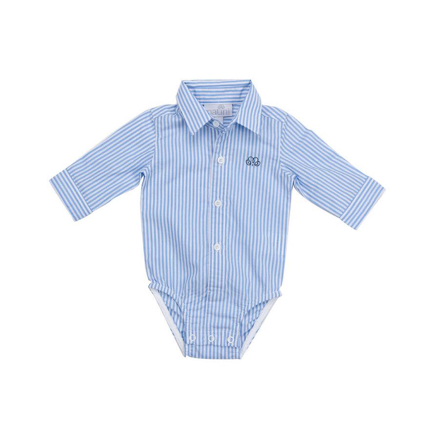 romper overhemd - streepje blauw-1