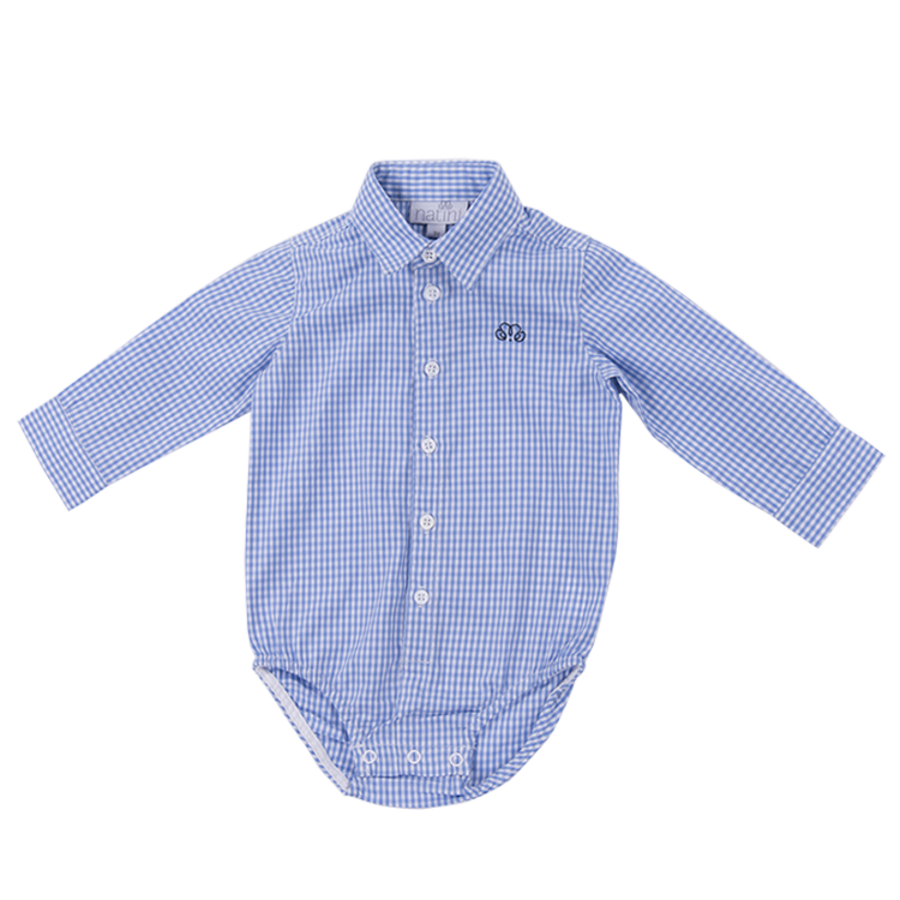 romper overhemd - geblokt blauw-1