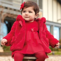 thumb-fake fur jasje - rood-1