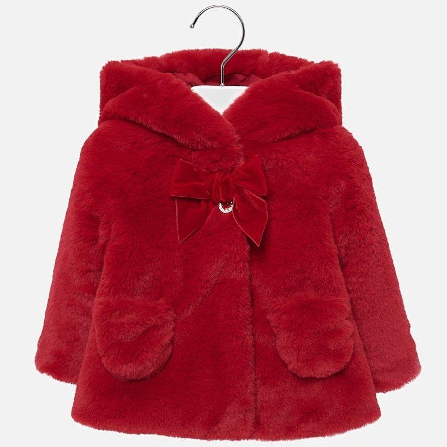 fake fur jasje - rood-4