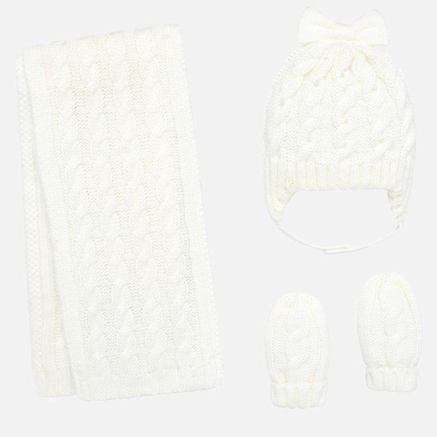 set van muts, sjaal en wanten met strik en parels-1