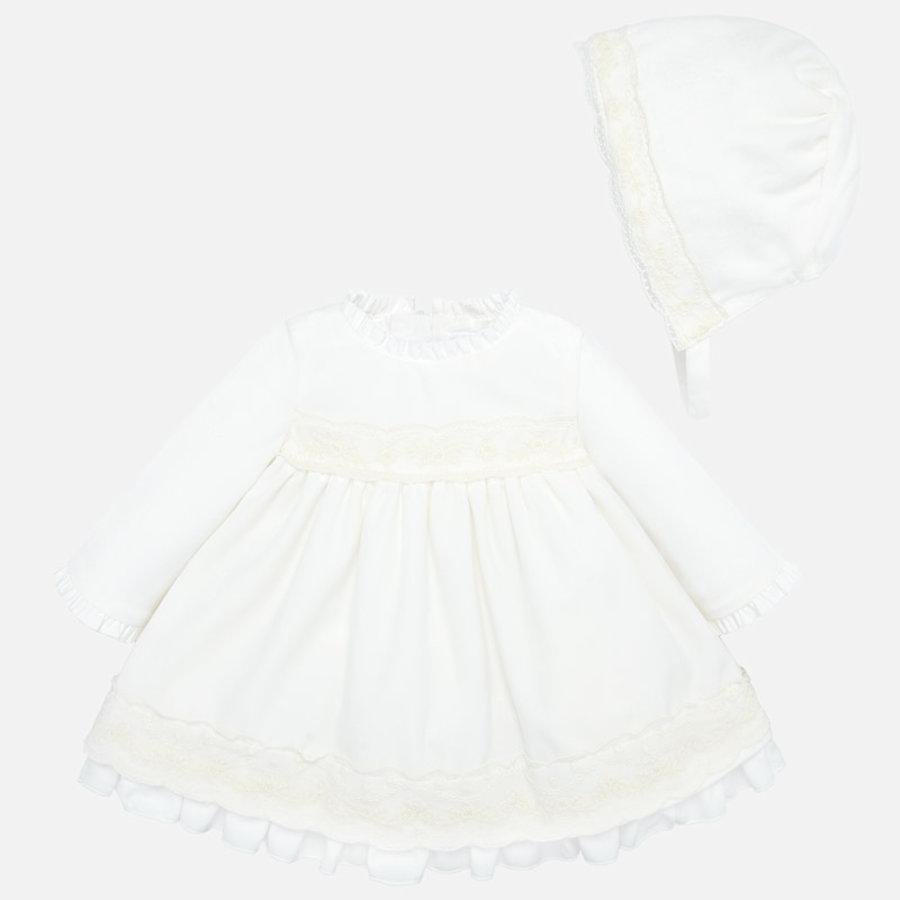 velours jurkje van kant met mutsje-1