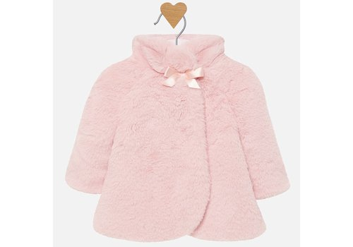 Mayoral fake fur jasje met strik - roze