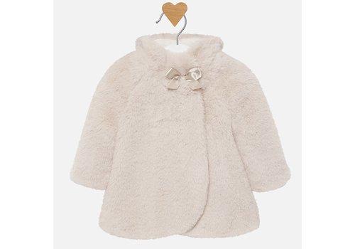 Mayoral fake fur jasje met strik - beige