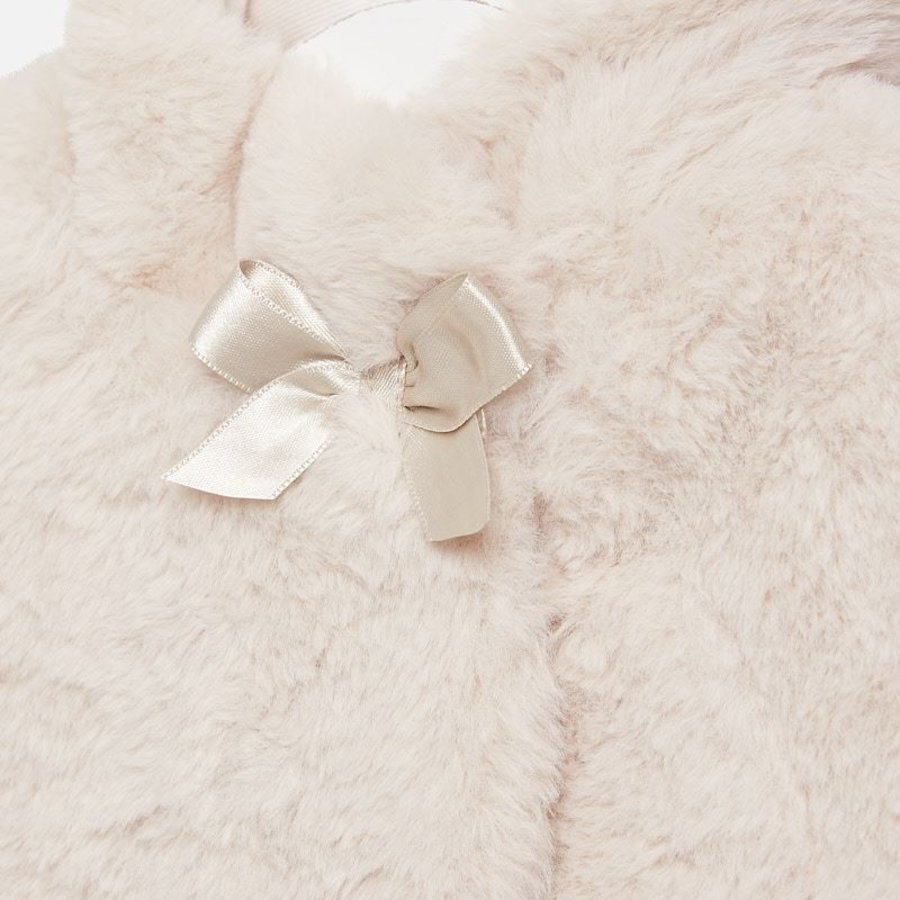 fake fur jasje met strik - beige-3
