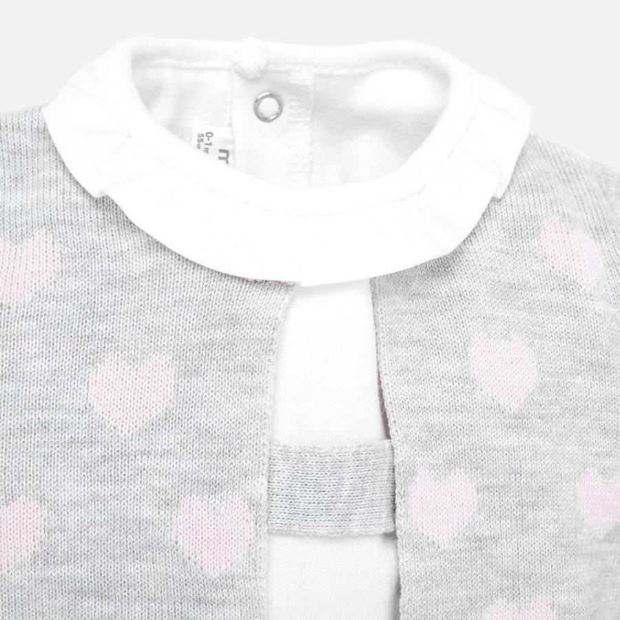 set van t-shirt, vestje met hartjes en rokje-4