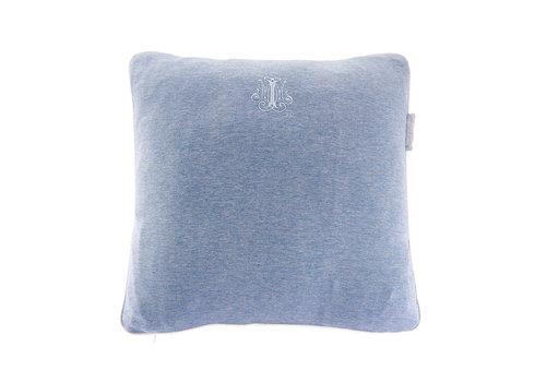 Théophile & Patachou Blue Jeans Kussen geborduurd - Jersey