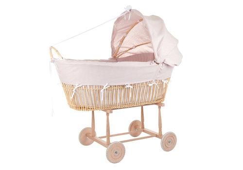 Théophile & Patachou Blush Pink Ovale rieten wieg op wielen + Bekleding linnen