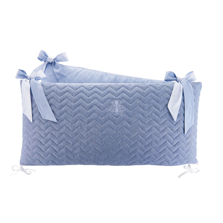 Blue Jeans Bedbeschermer 70cm - Gewatteerd (70x70x70cm) H:32cm-1