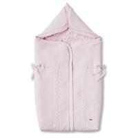 Rose gebreid babynestje in wol en cashmere, gevoerd met rose teddy (3punts gordel)