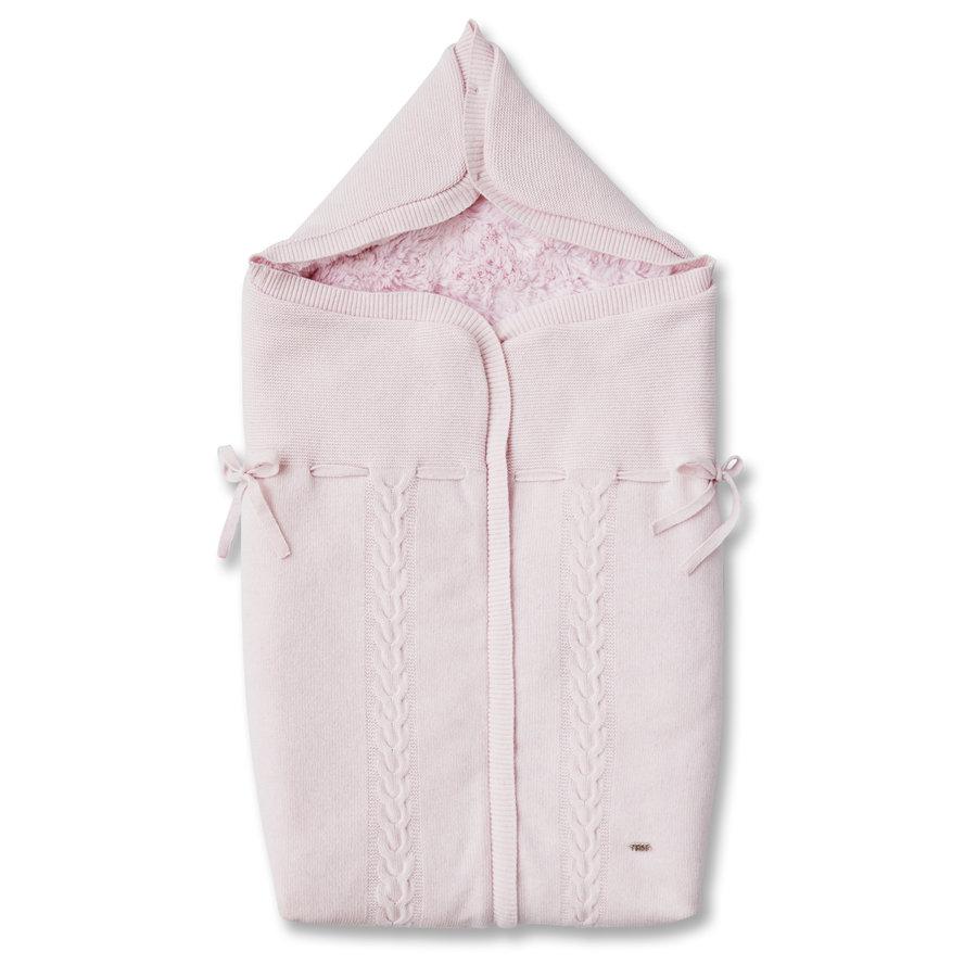 Rose gebreid babynestje in wol en cashmere, gevoerd met rose teddy (3punts gordel)-1