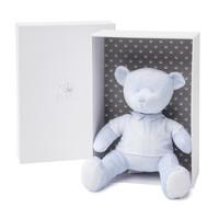 Muzikale lichtblauwe fluwelen teddy beer met lichtblauwe gestreepte details.(INCLUSIEF GESCHENKDOOS)