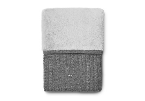 First - My First Collection gebreid deken van wol en cashmere met teddy - Endless Grey