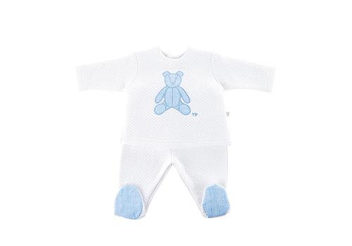 Théophile & Patachou Bloes jersey gewafeld teddybeer + Broek -  Wit/lichtblauw