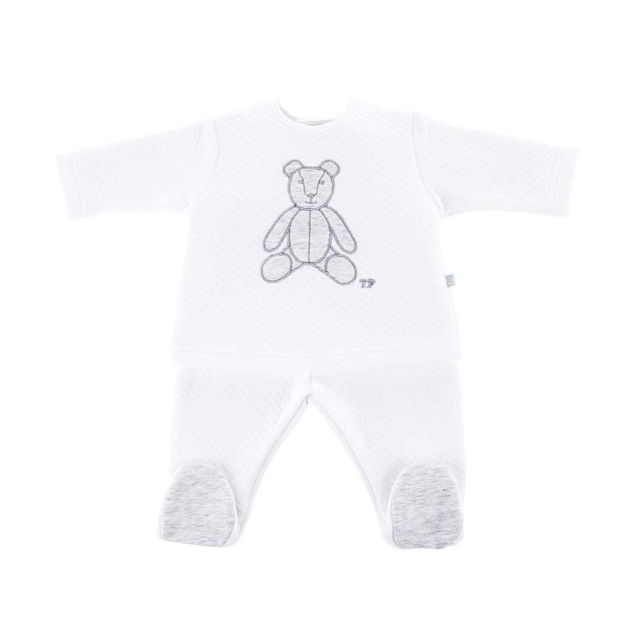 Bloes jersey gewafeld teddybeer + Broek -  Wit/grijs-1