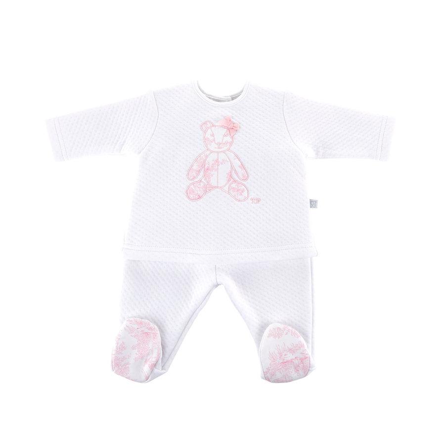 Bloes jersey gewafeld teddybeer + Broek -  wit/roze-1