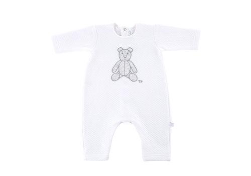 Théophile & Patachou Kruippakje jersey gewafeld teddybeer -  Wit/grijs
